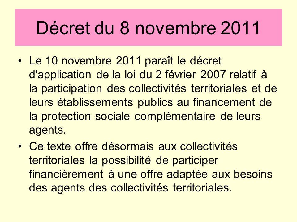 Décret du 8 novembre 2011 Le 10 novembre 2011 paraît le décret d'application de la loi du 2 février 2007 relatif à la participation des collectivités