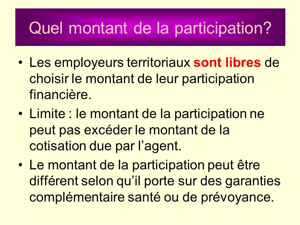 Quel montant de la participation? Les employeurs territoriaux sont libres de choisir le montant de leur participation financière. Limite : le montant