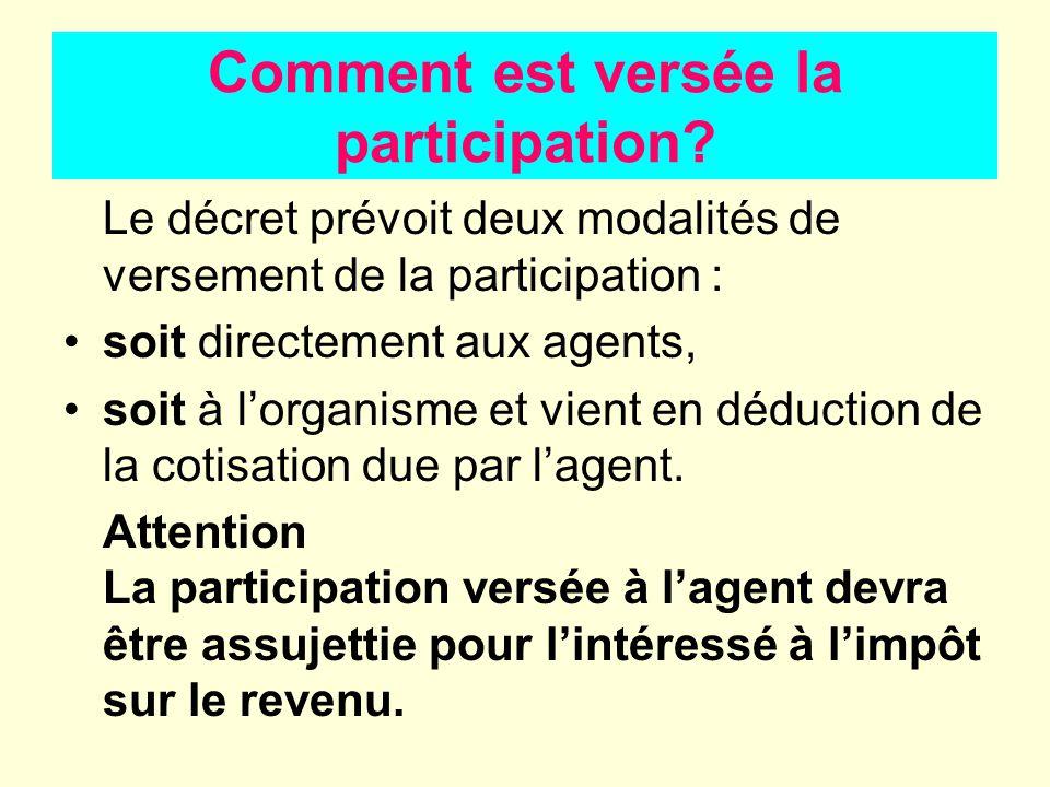 Comment est versée la participation? Le décret prévoit deux modalités de versement de la participation : soit directement aux agents, soit à lorganism