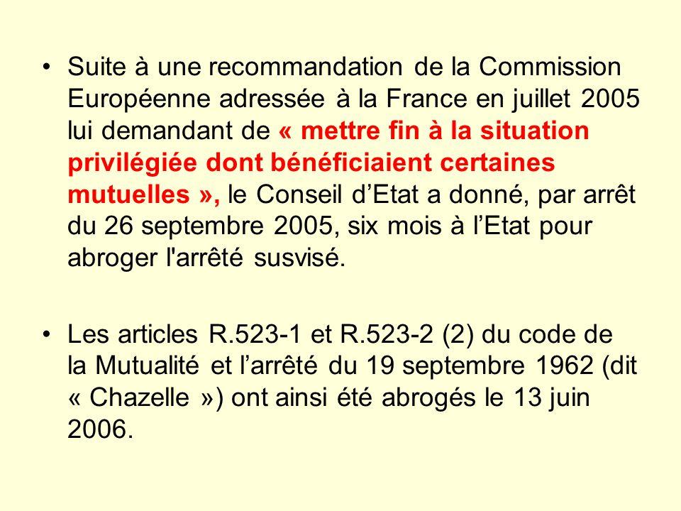 Suite à une recommandation de la Commission Européenne adressée à la France en juillet 2005 lui demandant de « mettre fin à la situation privilégiée d