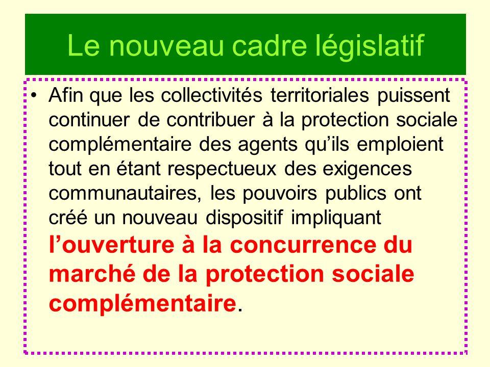 Le nouveau cadre législatif Afin que les collectivités territoriales puissent continuer de contribuer à la protection sociale complémentaire des agent