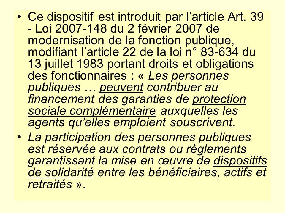 Ce dispositif est introduit par larticle Art. 39 - Loi 2007-148 du 2 février 2007 de modernisation de la fonction publique, modifiant larticle 22 de l