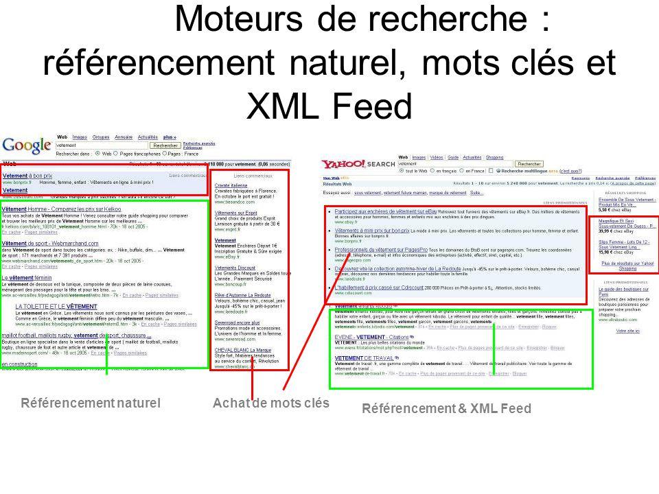 Moteurs de recherche : référencement naturel, mots clés et XML Feed Référencement naturel Référencement & XML Feed Achat de mots clés