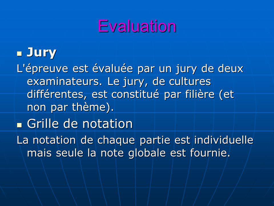 Evaluation Jury Jury L'épreuve est évaluée par un jury de deux examinateurs. Le jury, de cultures différentes, est constitué par filière (et non par t
