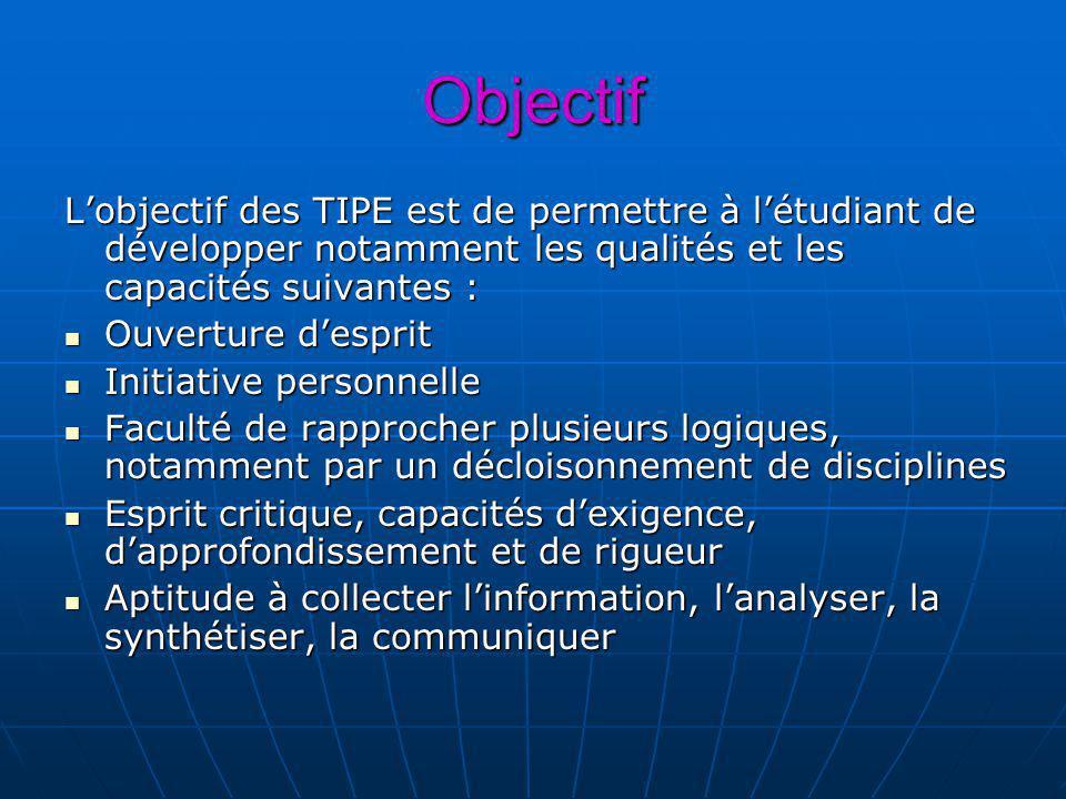 Objectif Lobjectif des TIPE est de permettre à létudiant de développer notamment les qualités et les capacités suivantes : Ouverture desprit Ouverture