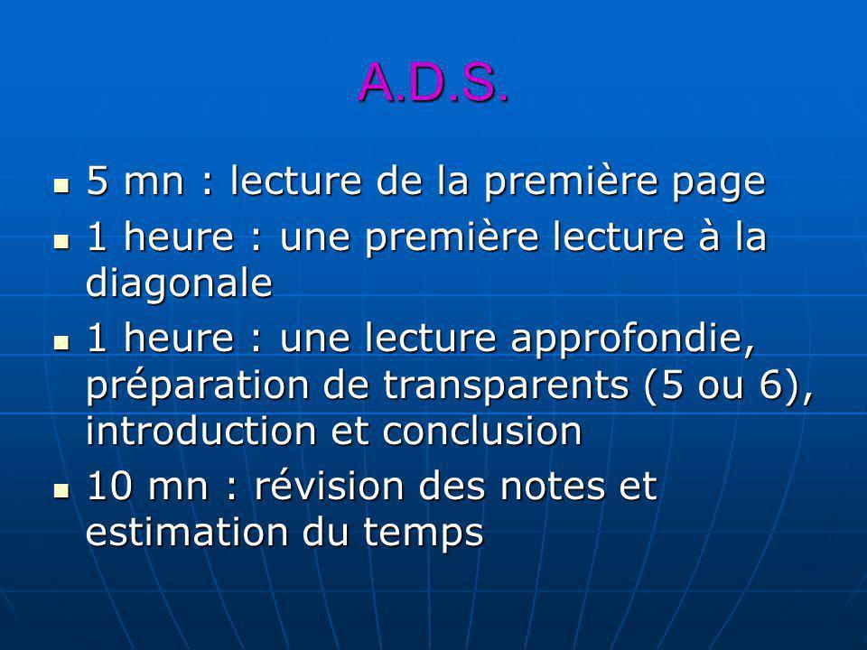 A.D.S. 5 mn : lecture de la première page 5 mn : lecture de la première page 1 heure : une première lecture à la diagonale 1 heure : une première lect