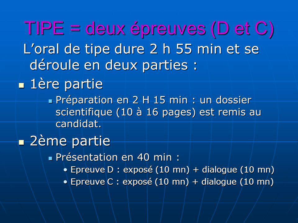 TIPE = deux épreuves (D et C) Loral de tipe dure 2 h 55 min et se déroule en deux parties : Loral de tipe dure 2 h 55 min et se déroule en deux parties : 1ère partie 1ère partie Préparation en 2 H 15 min : un dossier scientifique (10 à 16 pages) est remis au candidat.