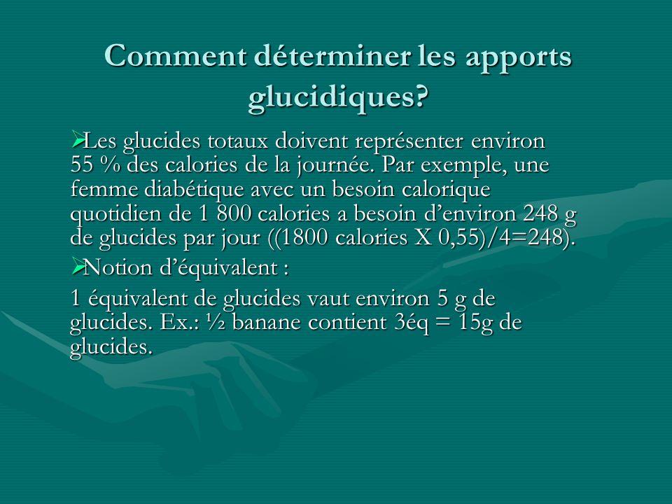Comment déterminer les apports glucidiques? Les glucides totaux doivent représenter environ 55 % des calories de la journée. Par exemple, une femme di
