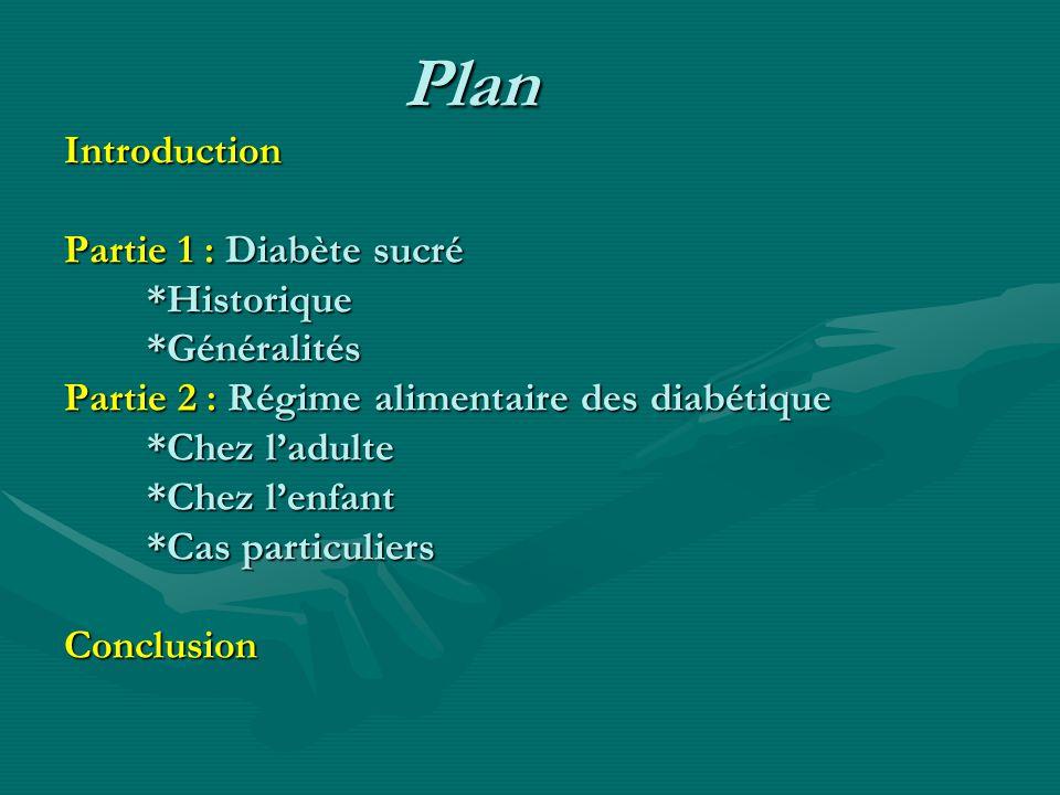 Plan Introduction Partie 1 : Diabète sucré *Historique *Généralités Partie 2 : Régime alimentaire des diabétique *Chez ladulte *Chez lenfant *Cas part