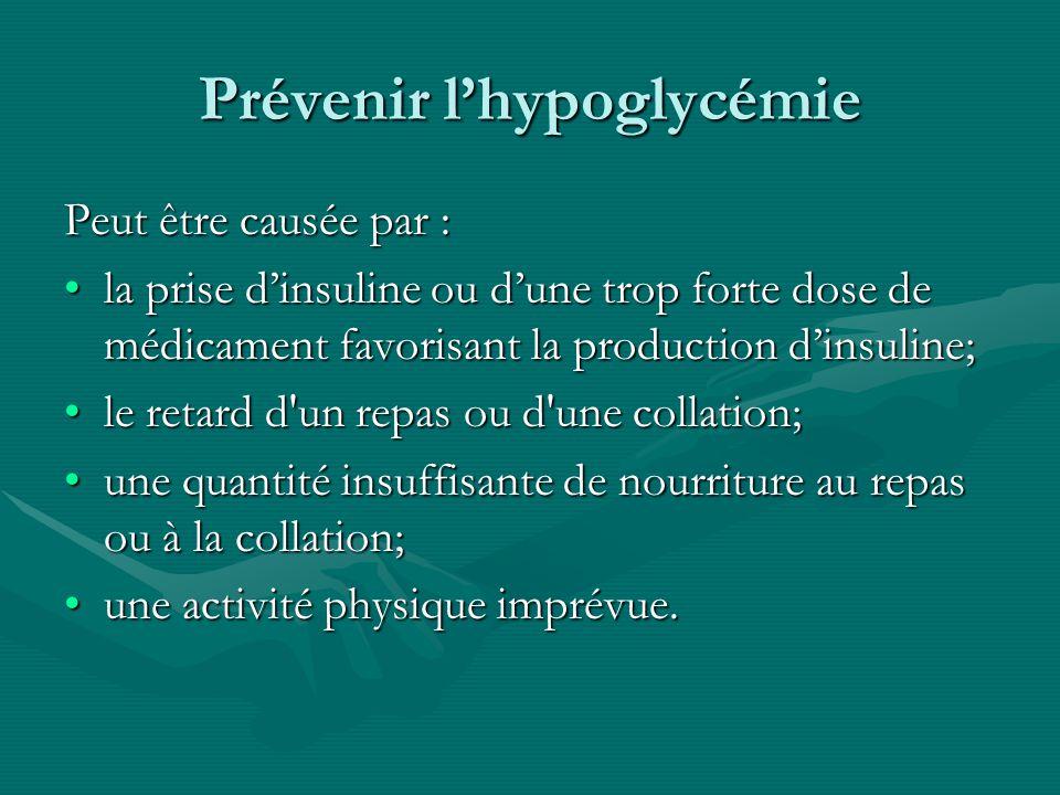 Prévenir lhypoglycémie Peut être causée par : la prise dinsuline ou dune trop forte dose de médicament favorisant la production dinsuline;la prise din