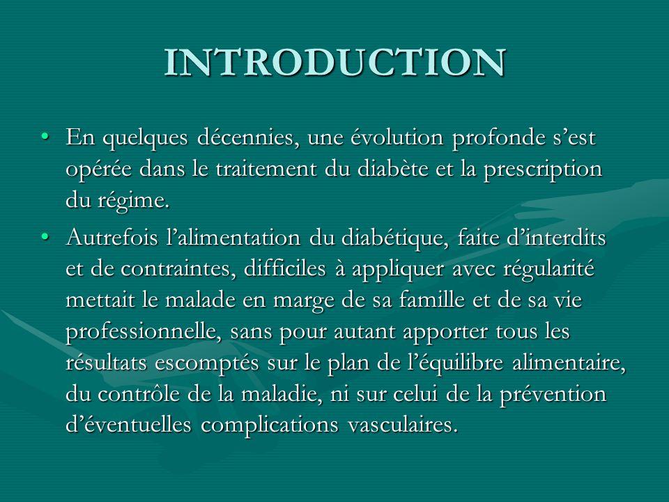 INTRODUCTION En quelques décennies, une évolution profonde sest opérée dans le traitement du diabète et la prescription du régime.En quelques décennie