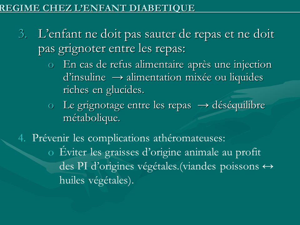 3.Lenfant ne doit pas sauter de repas et ne doit pas grignoter entre les repas: oEn cas de refus alimentaire après une injection dinsuline alimentatio