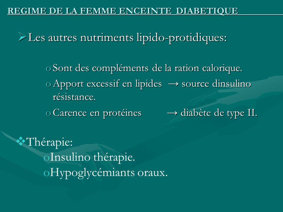 REGIME DE LA FEMME ENCEINTE DIABETIQUE Les autres nutriments lipido-protidiques: Les autres nutriments lipido-protidiques: oSont des compléments de la