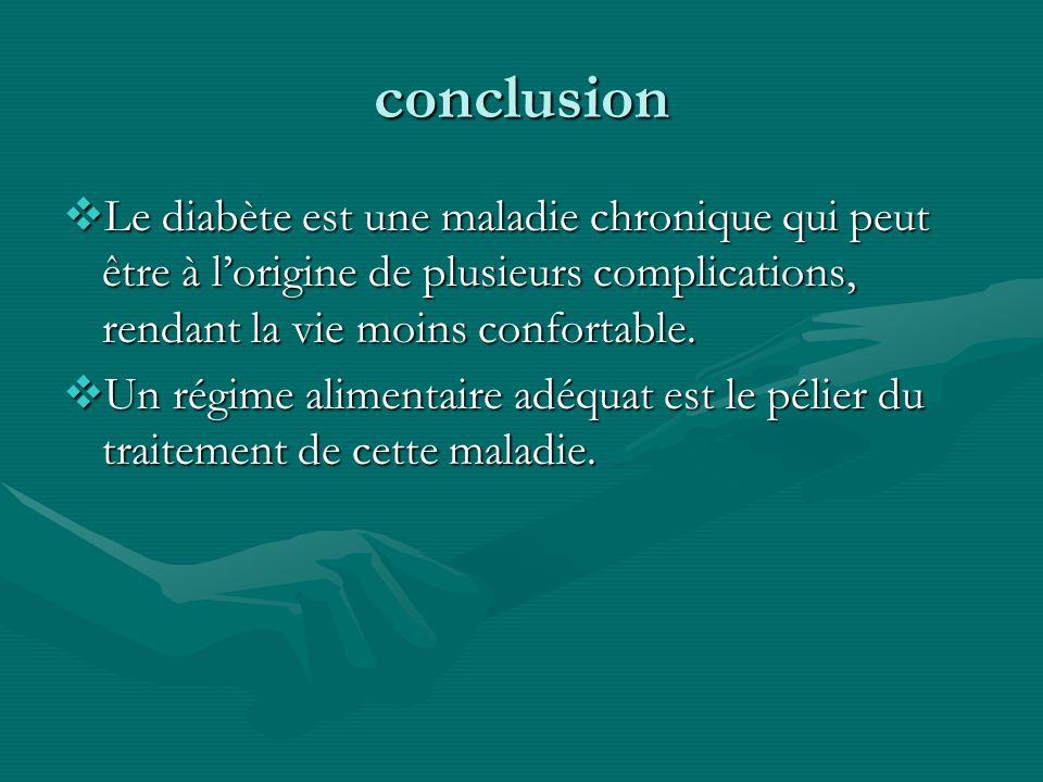 conclusion Le diabète est une maladie chronique qui peut être à lorigine de plusieurs complications, rendant la vie moins confortable. Le diabète est