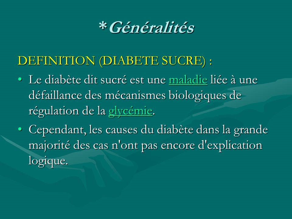*Généralités DEFINITION (DIABETE SUCRE) : Le diabète dit sucré est une maladie liée à une défaillance des mécanismes biologiques de régulation de la g