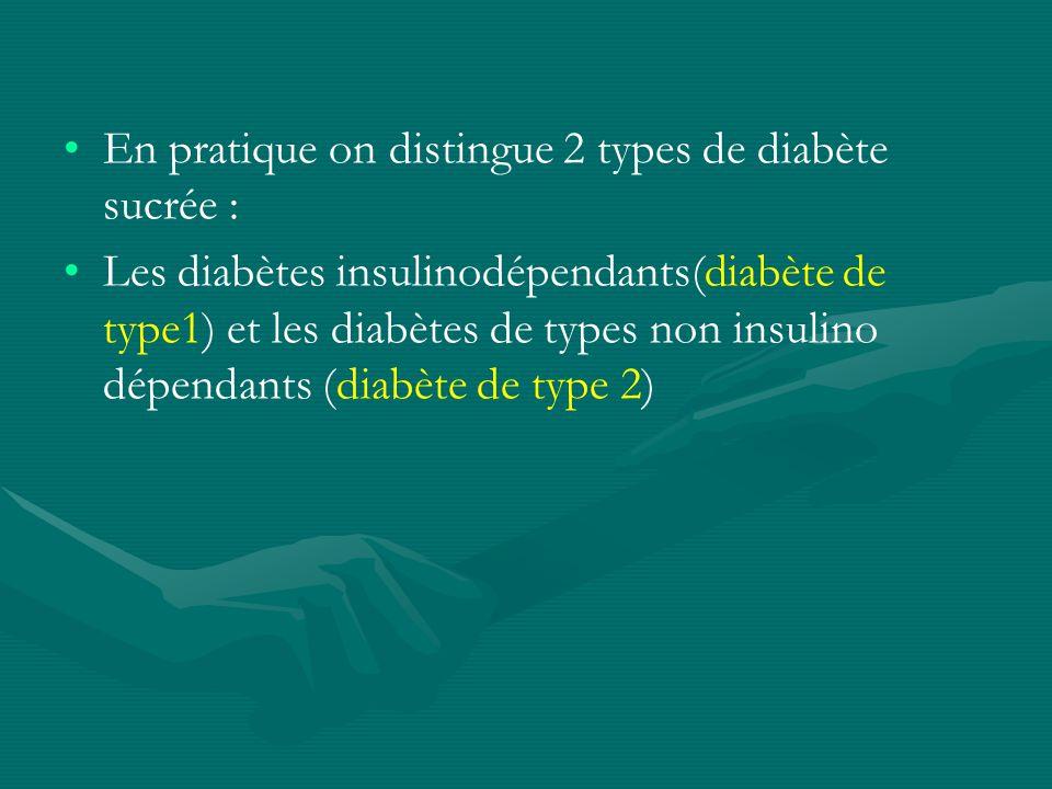 En pratique on distingue 2 types de diabète sucrée : Les diabètes insulinodépendants(diabète de type1) et les diabètes de types non insulino dépendant