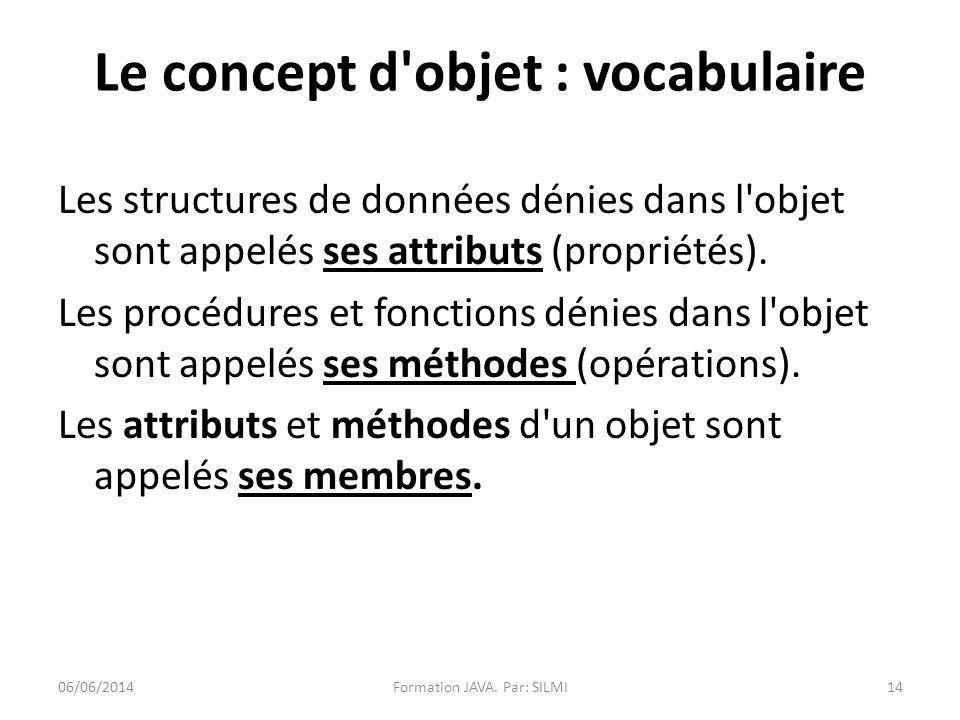 Les structures de données dénies dans l objet sont appelés ses attributs (propriétés).