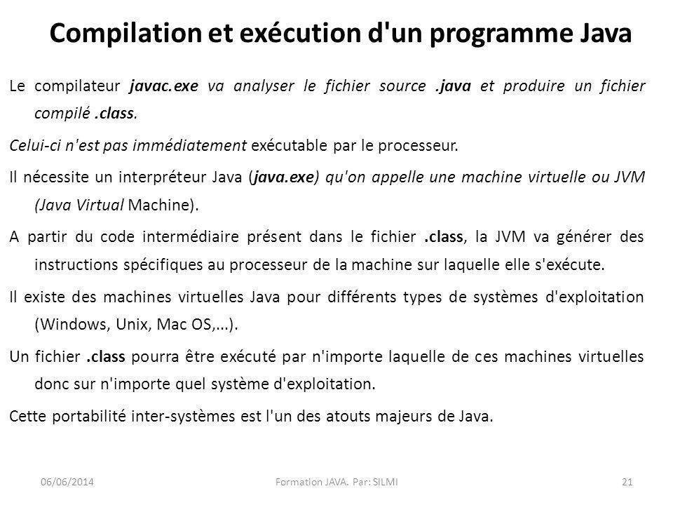 Le compilateur javac.exe va analyser le fichier source.java et produire un fichier compilé.class.