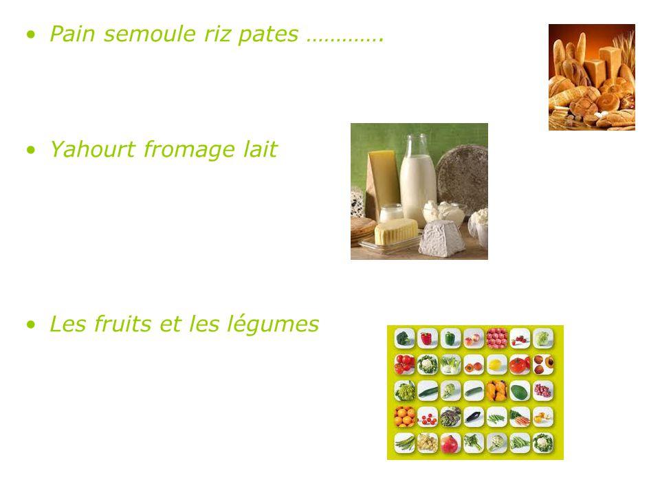 Pain semoule riz pates …………. Yahourt fromage lait Les fruits et les légumes