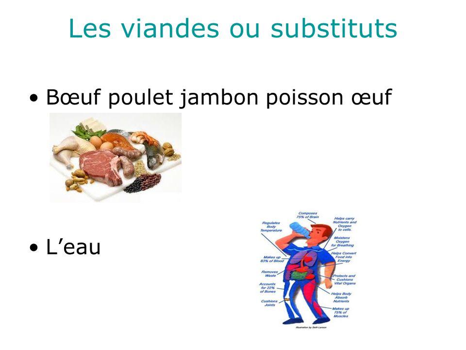 Les viandes ou substituts Bœuf poulet jambon poisson œuf Leau