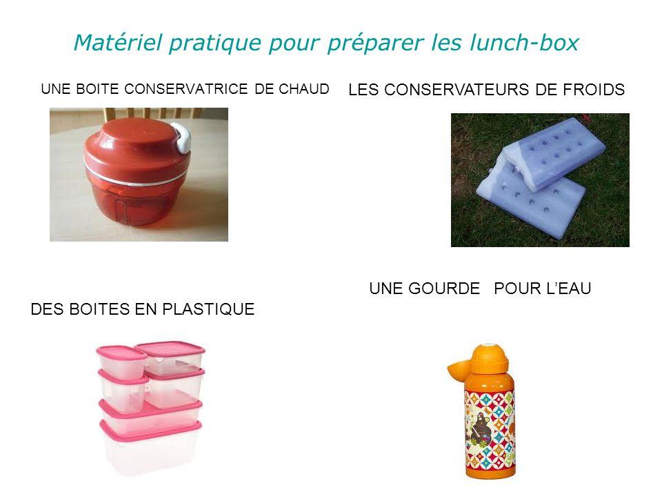 Matériel pratique pour préparer les lunch-box UNE BOITE CONSERVATRICE DE CHAUD DES BOITES EN PLASTIQUE UNE GOURDEPOUR LEAU LES CONSERVATEURS DE FROIDS