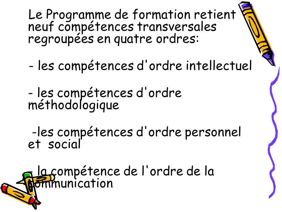 Le Programme de formation retient neuf compétences transversales regroupées en quatre ordres: - les compétences d'ordre intellectuel - les compétences