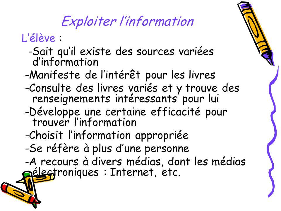Exploiter linformation Lélève : -Sait quil existe des sources variées dinformation -Manifeste de lintérêt pour les livres -Consulte des livres variés