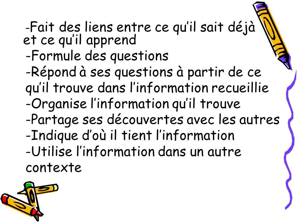 -Formule des questions -Répond à ses questions à partir de ce quil trouve dans linformation recueillie -Organise linformation quil trouve -Partage ses