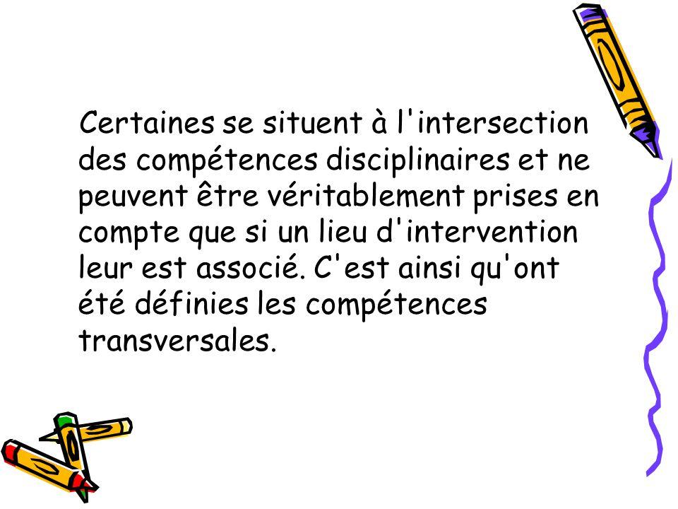 Certaines se situent à l'intersection des compétences disciplinaires et ne peuvent être véritablement prises en compte que si un lieu d'intervention l