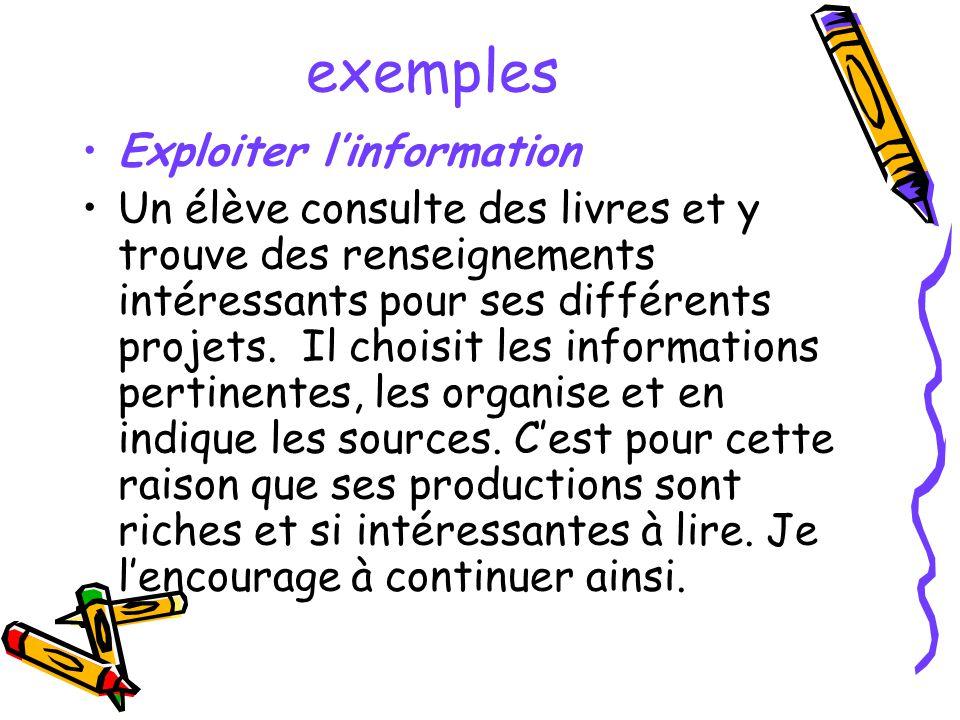 exemples Exploiter linformation Un élève consulte des livres et y trouve des renseignements intéressants pour ses différents projets. Il choisit les i