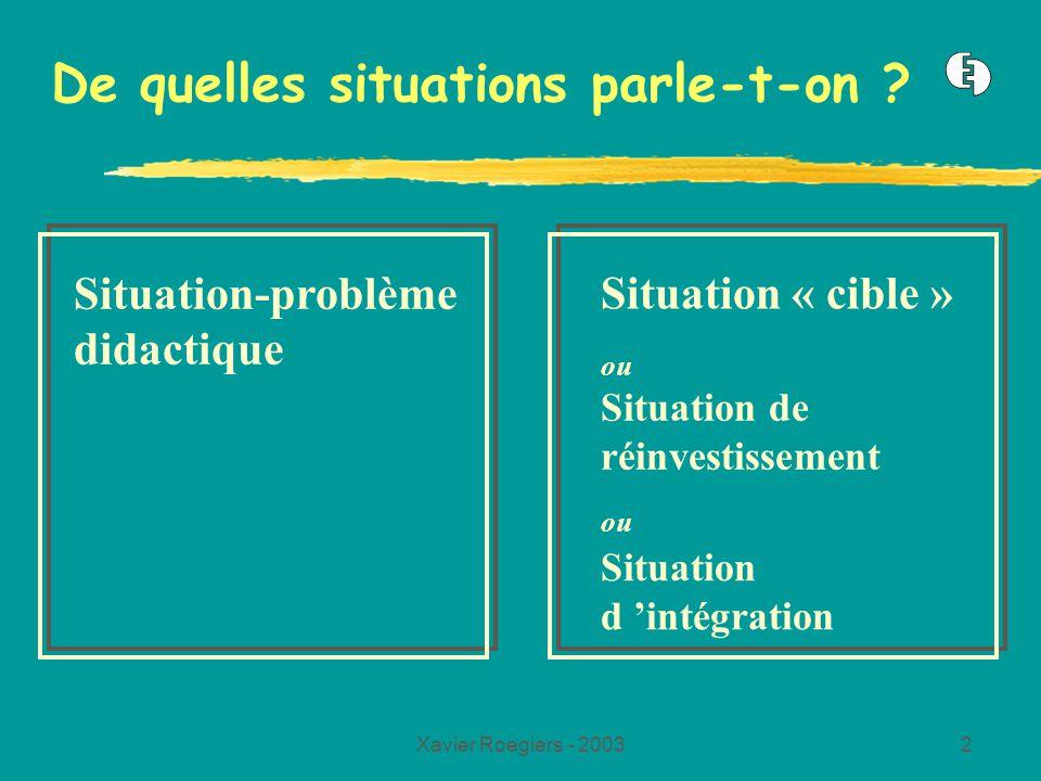 Xavier Roegiers - 20032 De quelles situations parle-t-on ? Situation-problème didactique Situation « cible » ou Situation de réinvestissement ou Situa
