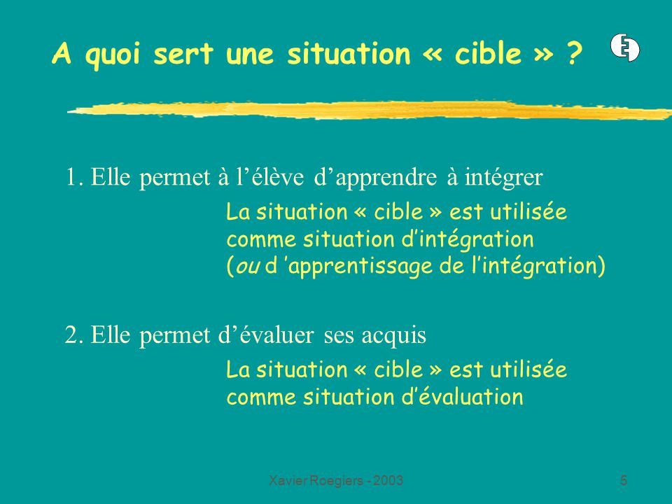 Xavier Roegiers - 20035 A quoi sert une situation « cible » .