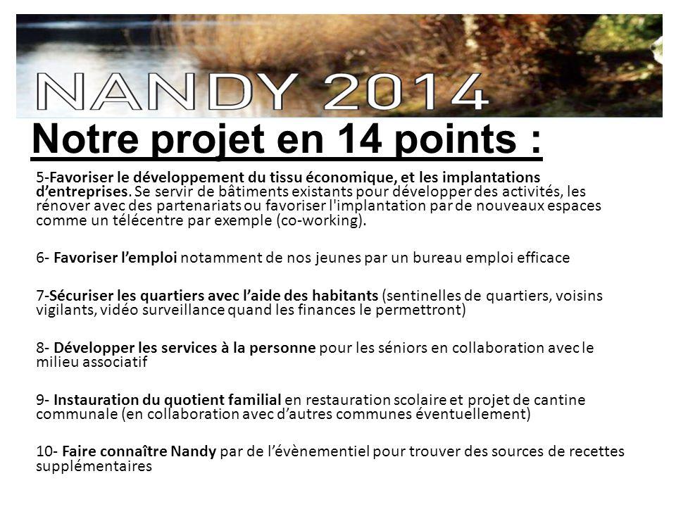 Notre projet en 14 points : 5-Favoriser le développement du tissu économique, et les implantations dentreprises.