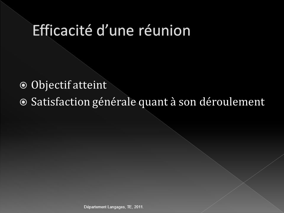 Objectif atteint Satisfaction générale quant à son déroulement Département Langages, TE, 2011.