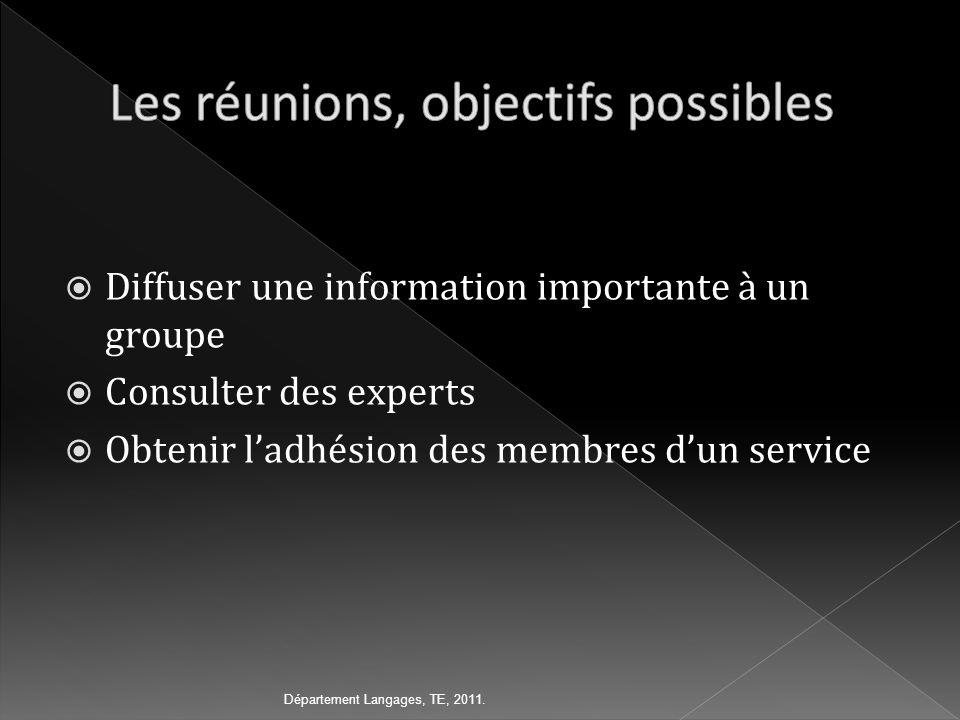 Diffuser une information importante à un groupe Consulter des experts Obtenir ladhésion des membres dun service Département Langages, TE, 2011.