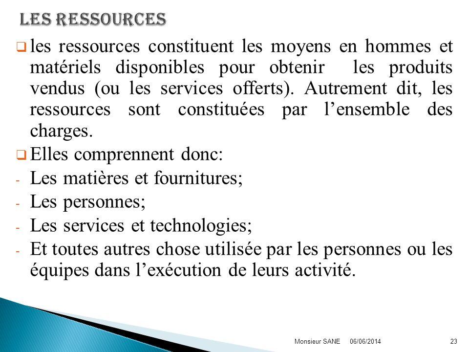 les ressources constituent les moyens en hommes et matériels disponibles pour obtenir les produits vendus (ou les services offerts).