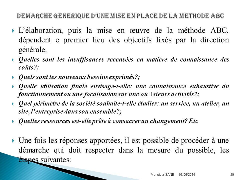Lélaboration, puis la mise en œuvre de la méthode ABC, dépendent e premier lieu des objectifs fixés par la direction générale.