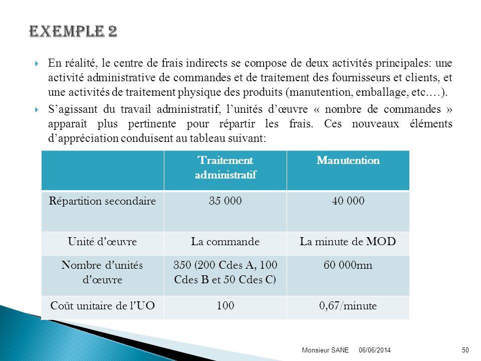 En réalité, le centre de frais indirects se compose de deux activités principales: une activité administrative de commandes et de traitement des fourn