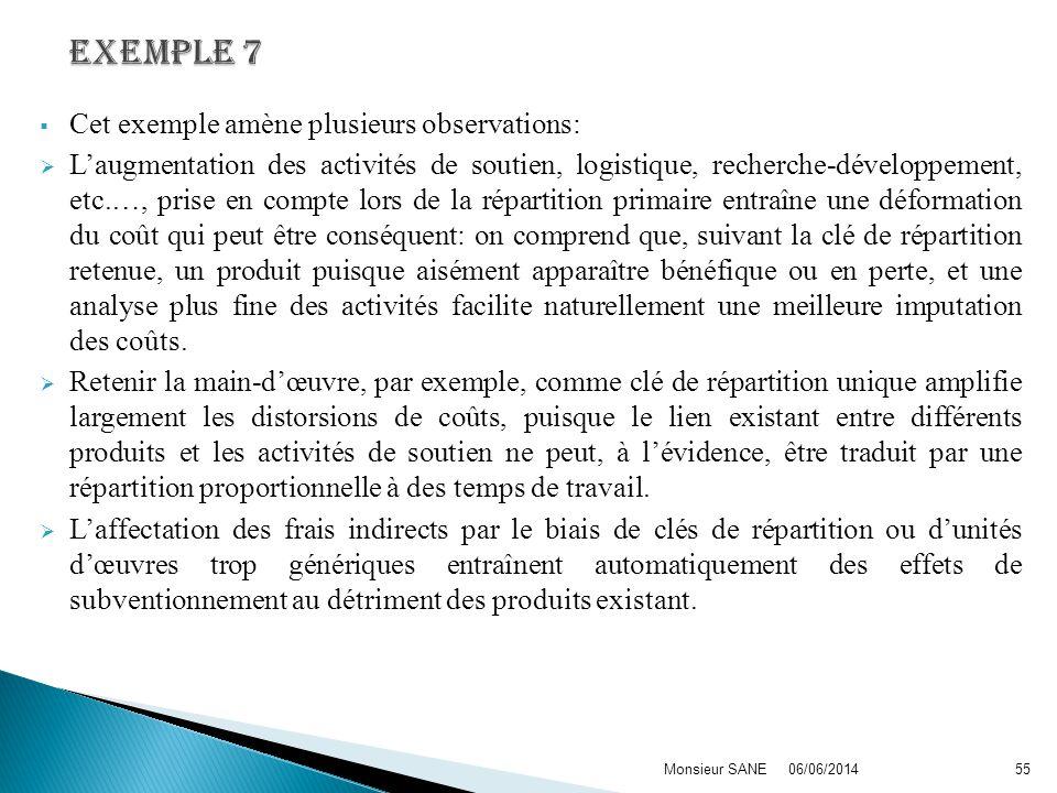 Cet exemple amène plusieurs observations: Laugmentation des activités de soutien, logistique, recherche-développement, etc.…, prise en compte lors de