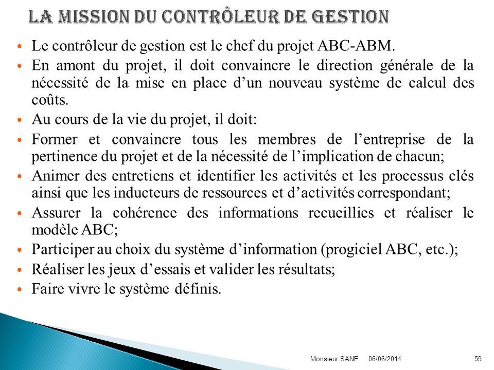 Le contrôleur de gestion est le chef du projet ABC-ABM. En amont du projet, il doit convaincre le direction générale de la nécessité de la mise en pla