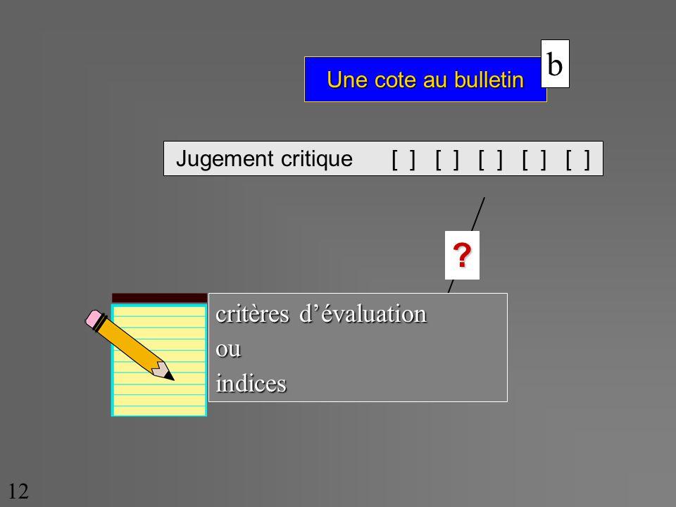 Une cote au bulletin 12 Jugement critique [ ] [ ] [ ] [ ] [ ] ? b critères dévaluation ouindices