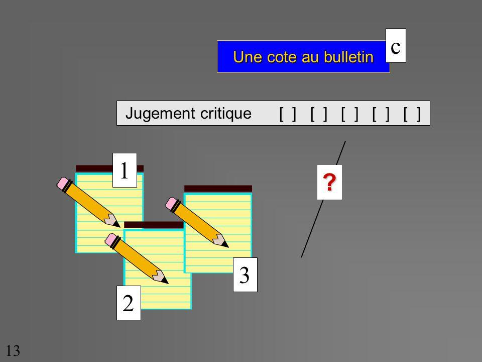 Une cote au bulletin 13 Jugement critique [ ] [ ] [ ] [ ] [ ] ? c 1 2 3
