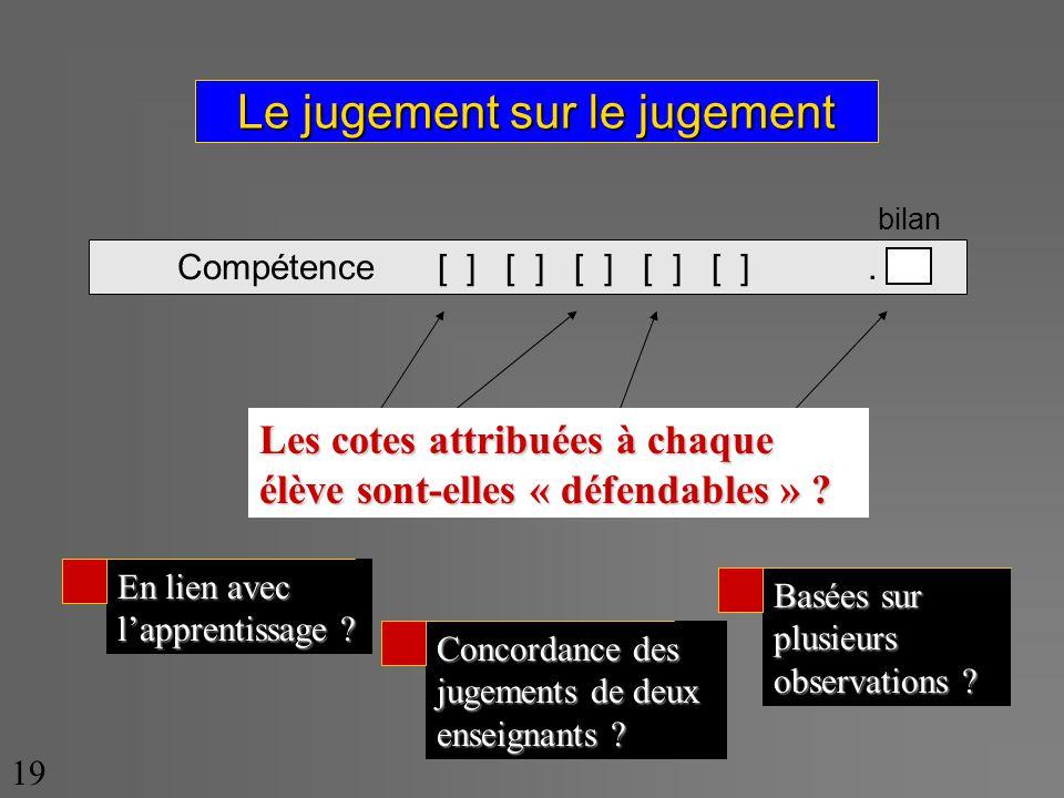 Le jugement sur le jugement Compétence [ ] [ ] [ ] [ ] [ ].