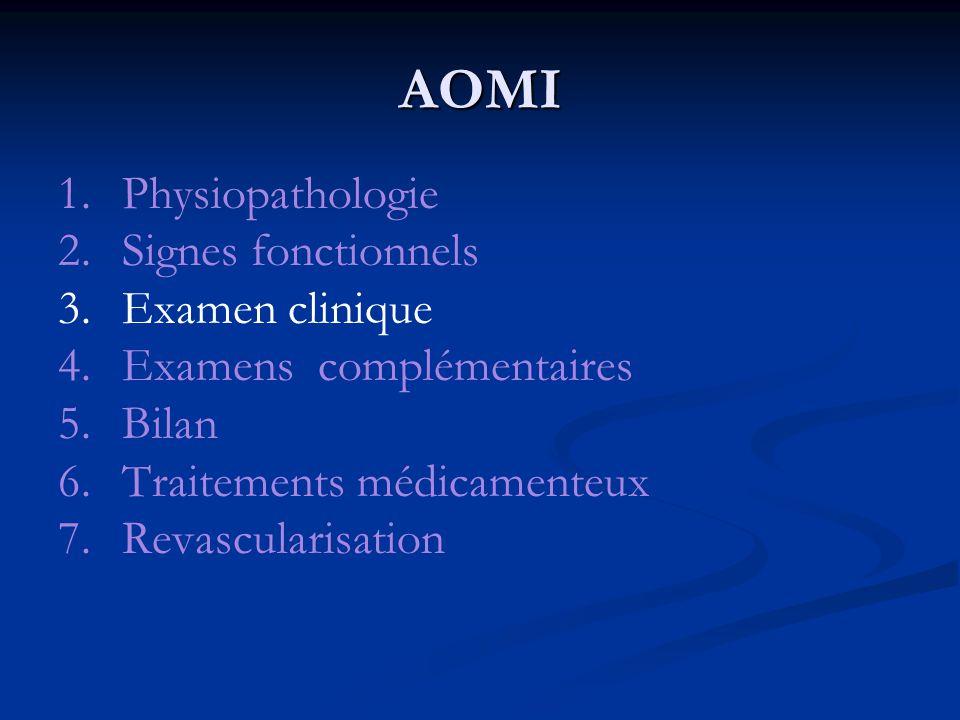 AOMI 1.Physiopathologie 2.Signes fonctionnels 3. Examen clinique 4. Examens complémentaires 5. Bilan 6. Traitements médicamenteux 7. Revascularisation