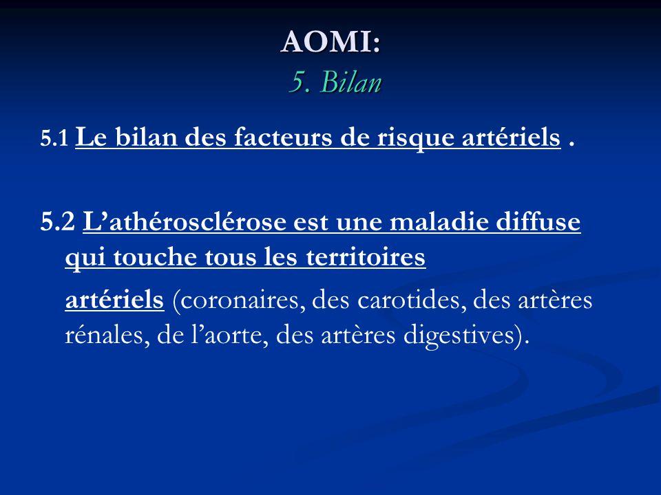AOMI: 5. Bilan 5.1 Le bilan des facteurs de risque artériels. 5.2 Lathérosclérose est une maladie diffuse qui touche tous les territoires artériels (c