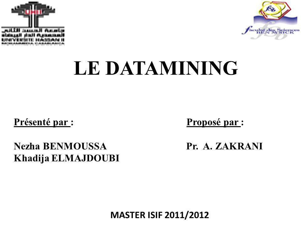 LE DATAMINING Présenté par : Proposé par : Nezha BENMOUSSA Pr. A. ZAKRANI Khadija ELMAJDOUBI MASTER ISIF 2011/2012