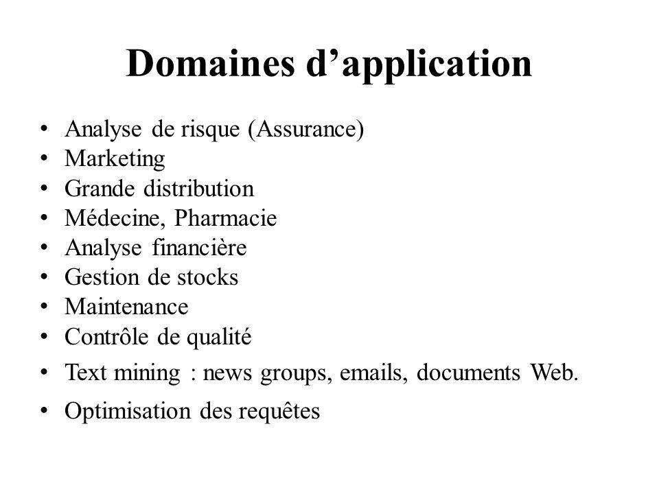 Domaines dapplication Analyse de risque (Assurance) Marketing Grande distribution Médecine, Pharmacie Analyse financière Gestion de stocks Maintenance