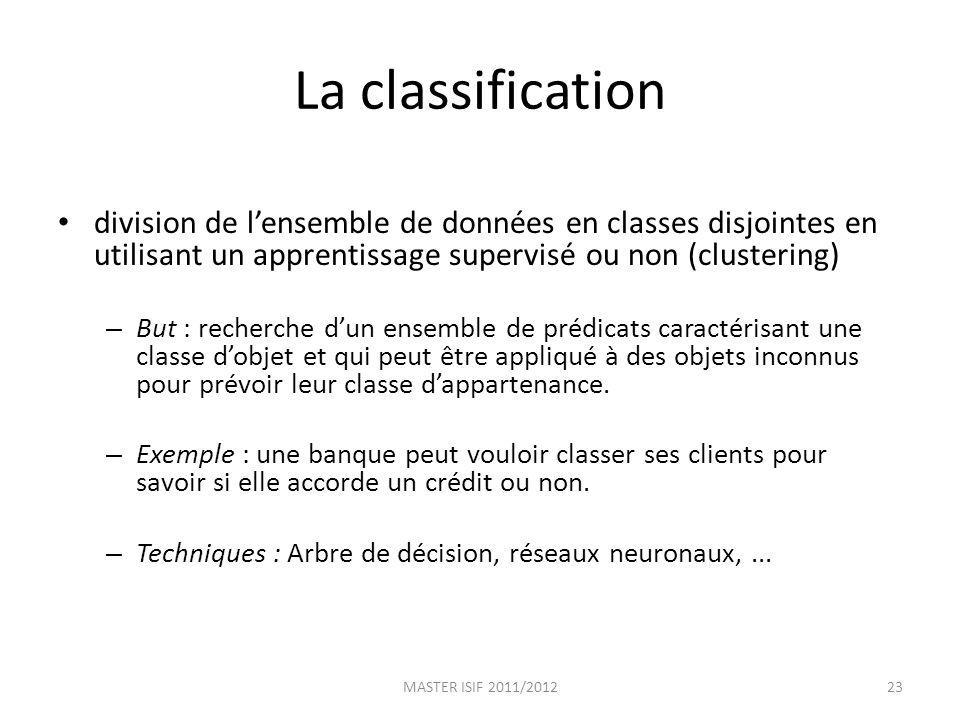 La classification division de lensemble de données en classes disjointes en utilisant un apprentissage supervisé ou non (clustering) – But : recherche
