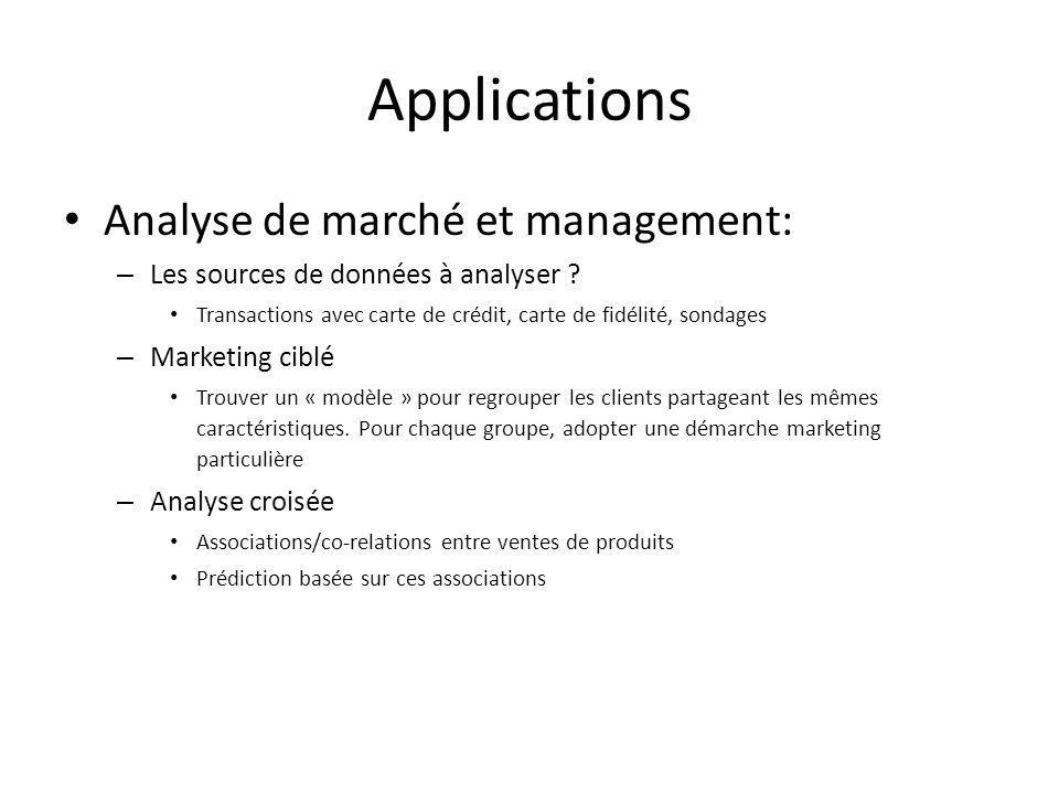 Applications Analyse de marché et management: – Les sources de données à analyser ? Transactions avec carte de crédit, carte de fidélité, sondages – M