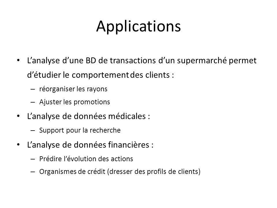 Applications Lanalyse dune BD de transactions dun supermarché permet détudier le comportement des clients : – réorganiser les rayons – Ajuster les pro